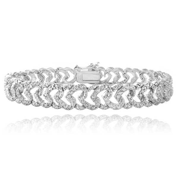 DB Designs Rhodium-plated 1/10ct TDW Diamond Heart Link Bracelet