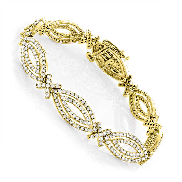Luxurman 14k Gold 5ct Marquise-cut White Diamond Bracelet
