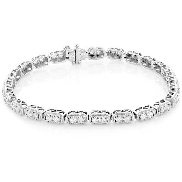 Luxurman 14k Gold 2 1/6ct TDW Round Diamond Tennis Bracelet
