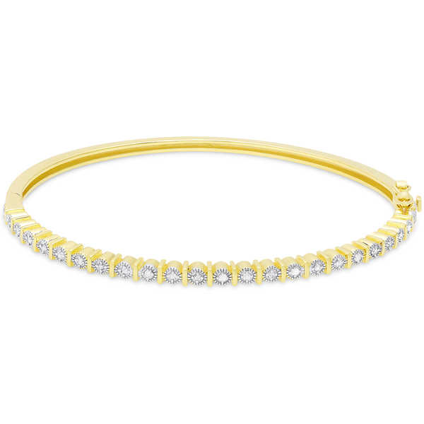 Finesque Gold Over Silver or Sterling Silver 1/4ct TDW Diamond Bangle