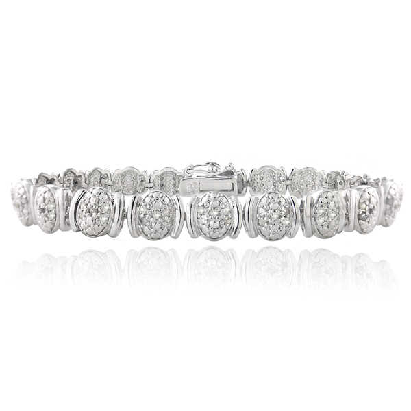 DB Designs Silvertone 1ct TDW Diamond Oval Link Bracelet