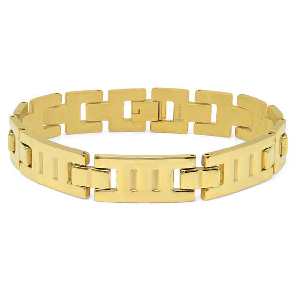 18k Gold-plated Stainless Steel Indented Bracelet