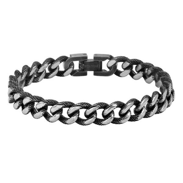 Cambridge Men's Stainless Steel Textured Chain Bracelet