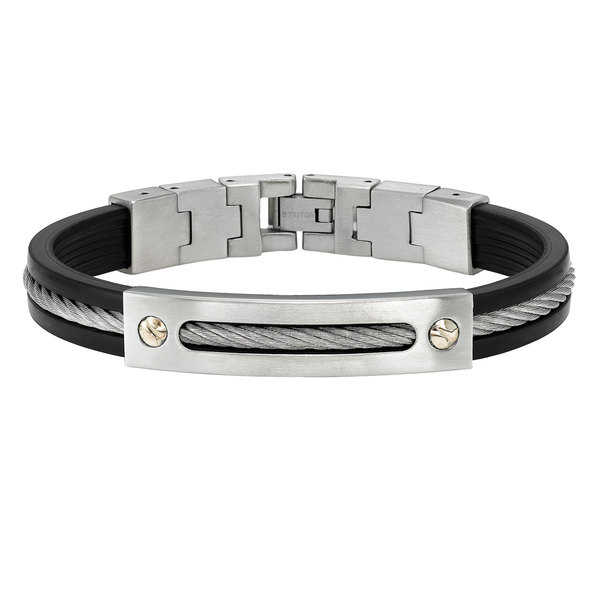 Cambridge Jewelry Two-tone Stainless Steel/Rubber Bracelet