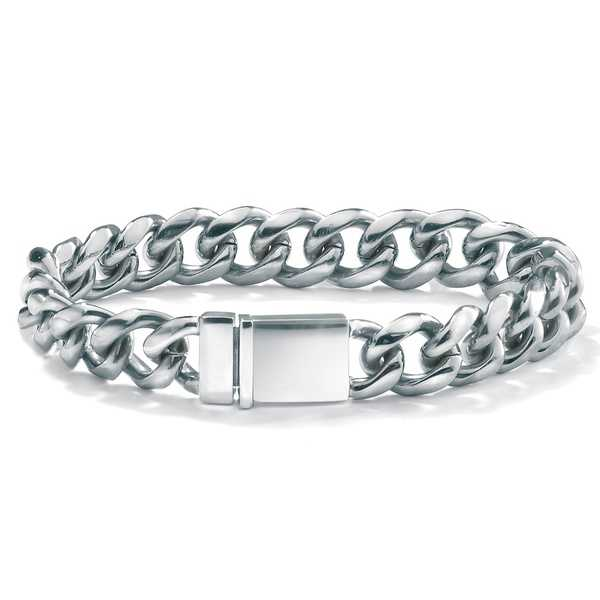 Stainless Steel Men's 13mm Curb Link Bracelet