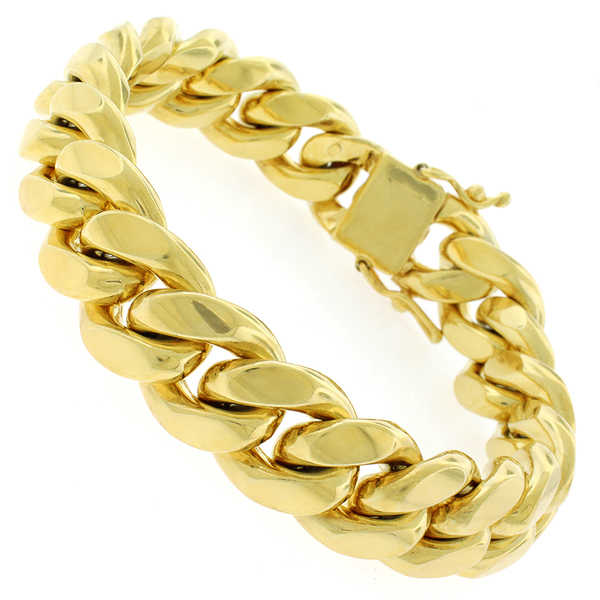 Gold-plated Sterling Silver 15.5mm Solid Miami Cuban Link Bracelet 9 inches
