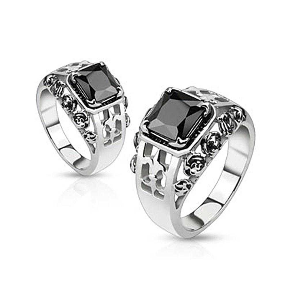 Rose Royal Fleur De Lis Set Black Square Gem Cast Stainless Steel Ring