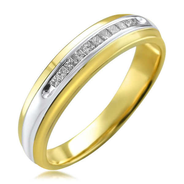 Montebello Men's 14k Two-tone Gold 1/4ct TDW Princess-cut White Diamond Wedding Band