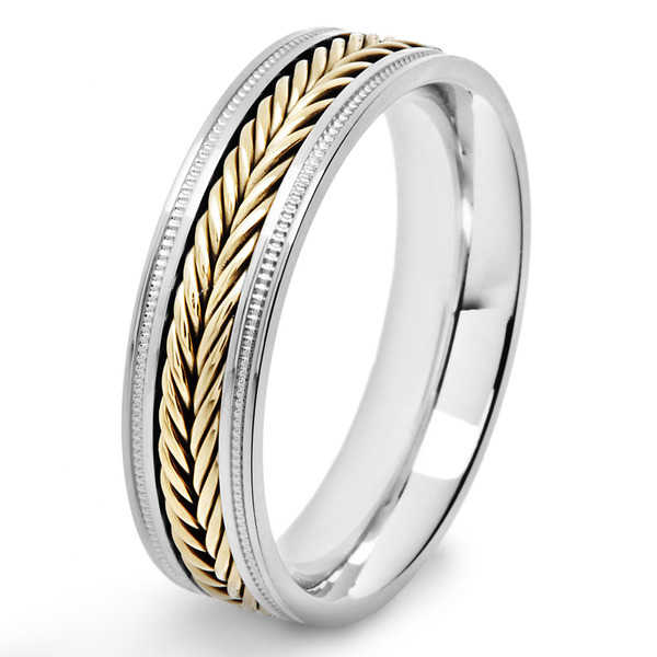 Crucible Two Tone Polished Stainless Steel Fish Braid Inlay Milgrain Comfort Fit Ring - 6mm Wide
