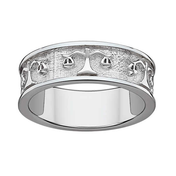 Sterling Silver or Gold over Sterling Libra Zodiac Band