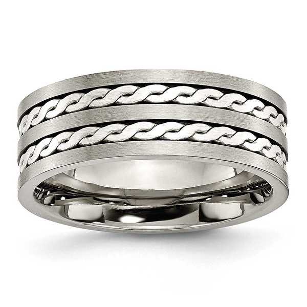 Chisel Sterling Silver Inlay Brushed and Antiqued Titanium Ring (8.0 mm)