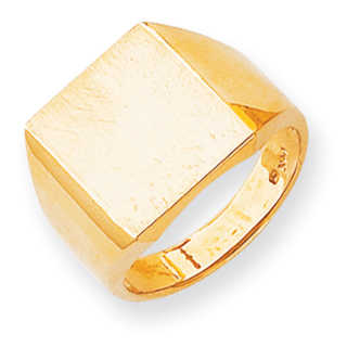 Versil 14k Gold Men's Brushed and Polished Signet Ring