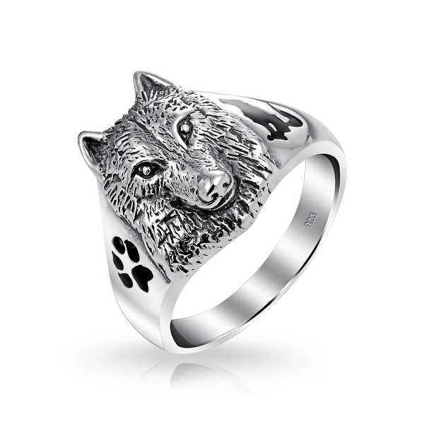 Bling Jewelry Sterling Silver Wolf Head Black Animal Paw Print Ring Enamel