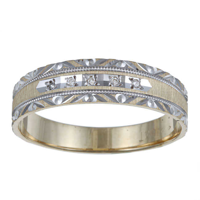 Men's Diamond Accent 10k Gold Etched Patterned Wedding Band Ring