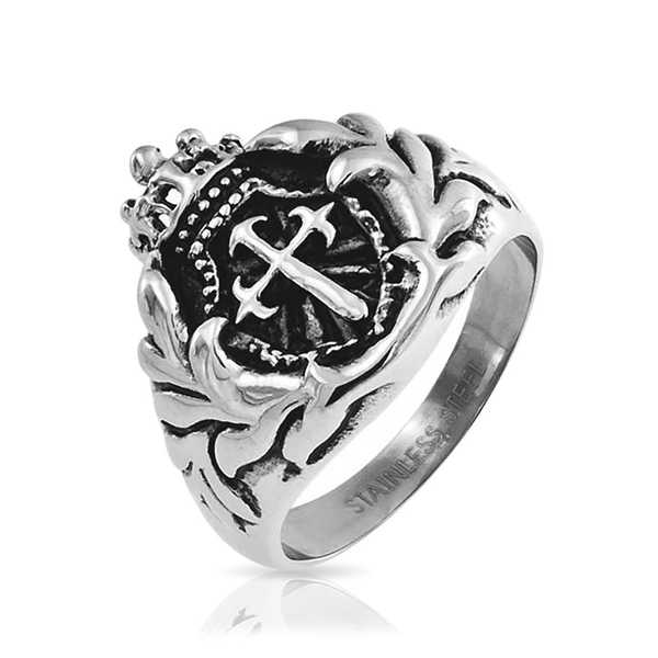 Bling Jewelry Mens Royal Crown Knight Shield Sword Cross Ring Steel 3mm