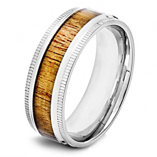 Crucible Men's Polished Stainless Steel Oak Wood Inlay 8mm Wide Milgrain Band