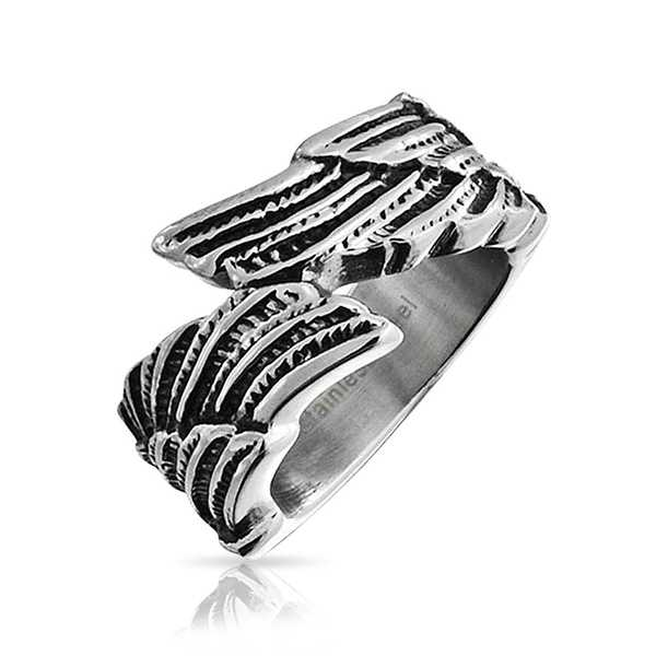 Unisex Feather Angel Wing Ring Stainless Steel Band