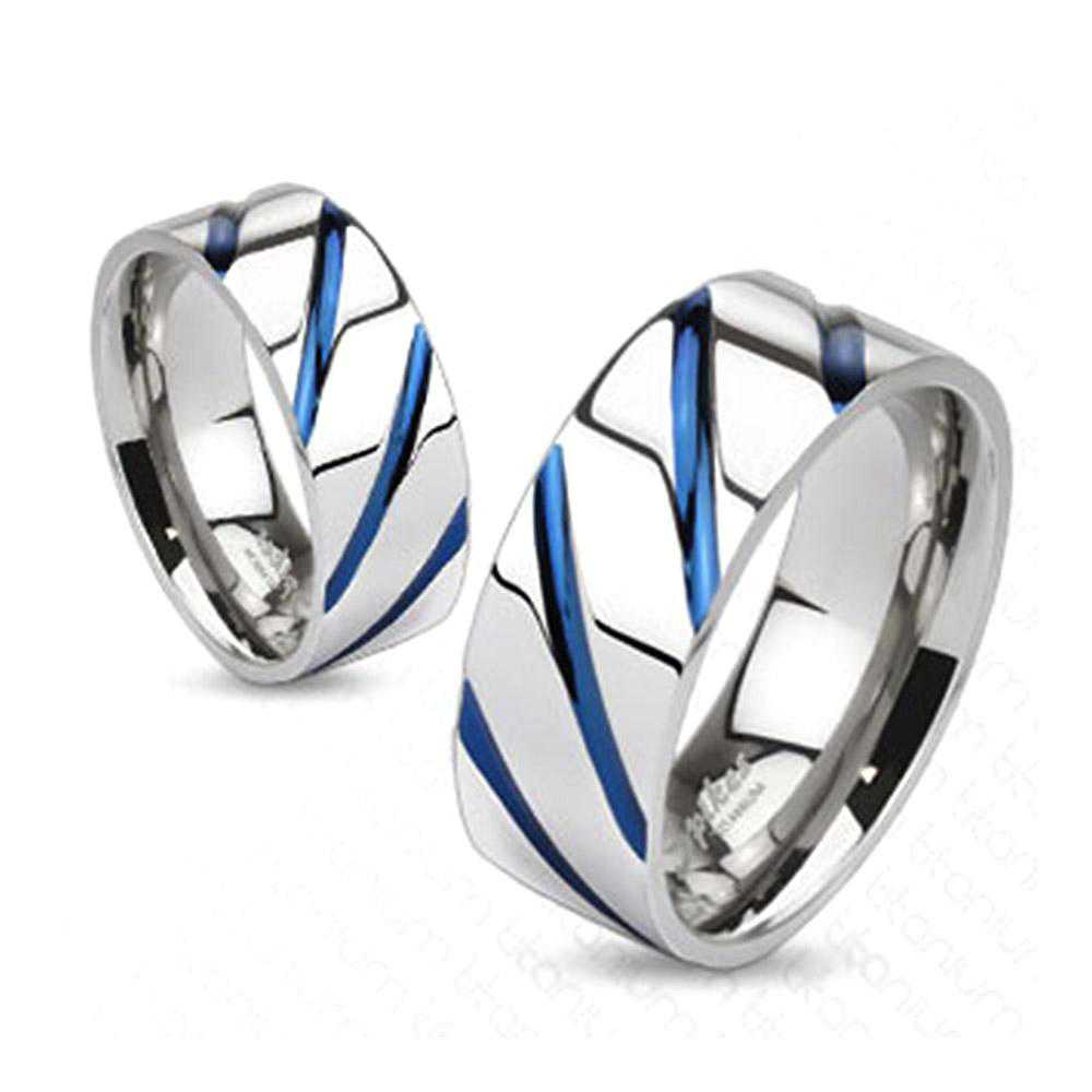 Striped Solid Blue IP Titanium Band Ring