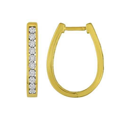 1/20 Carat T.W. Diamond 14kt Gold over Sterling Silver Miracle Hoop Earrings