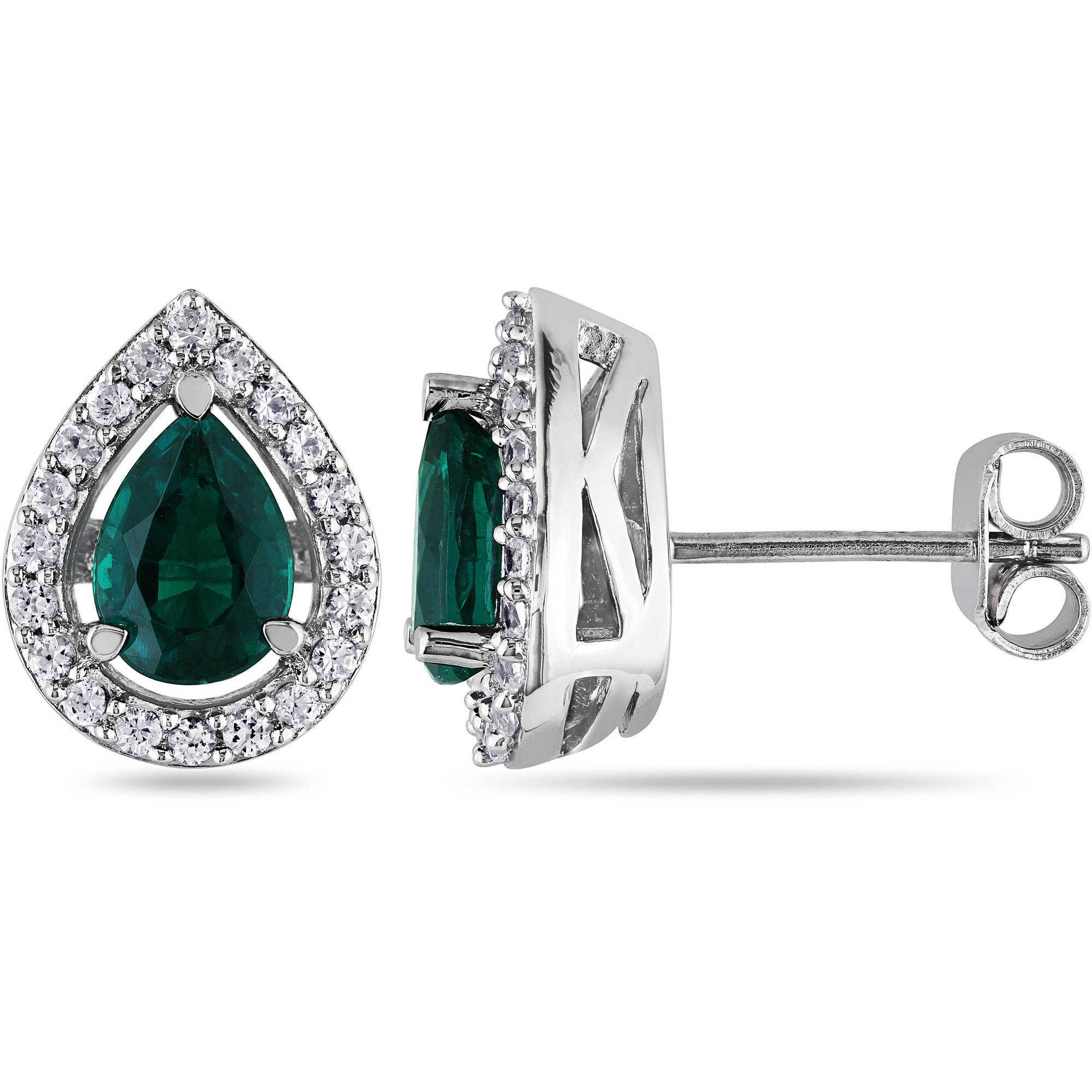 1-3/4 Carat T.G.W. Created Emerald and Created White Sapphire Sterling Silver Stud Teardrop Earrings
