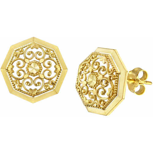 US GOLD 10kt Gold Round Filigree Stud Earrings