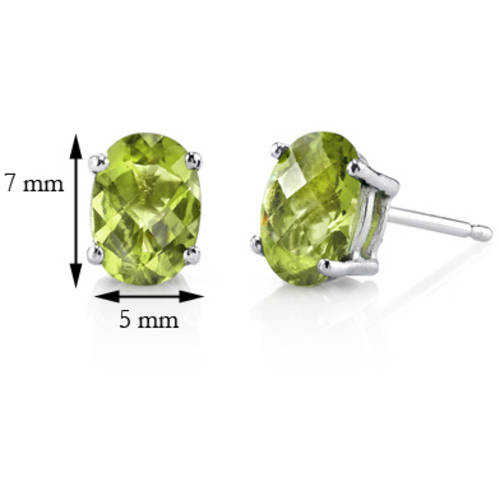 Oravo 2.00 Carat T.G.W. Oval-Cut Peridot 14kt White Gold Stud Earrings