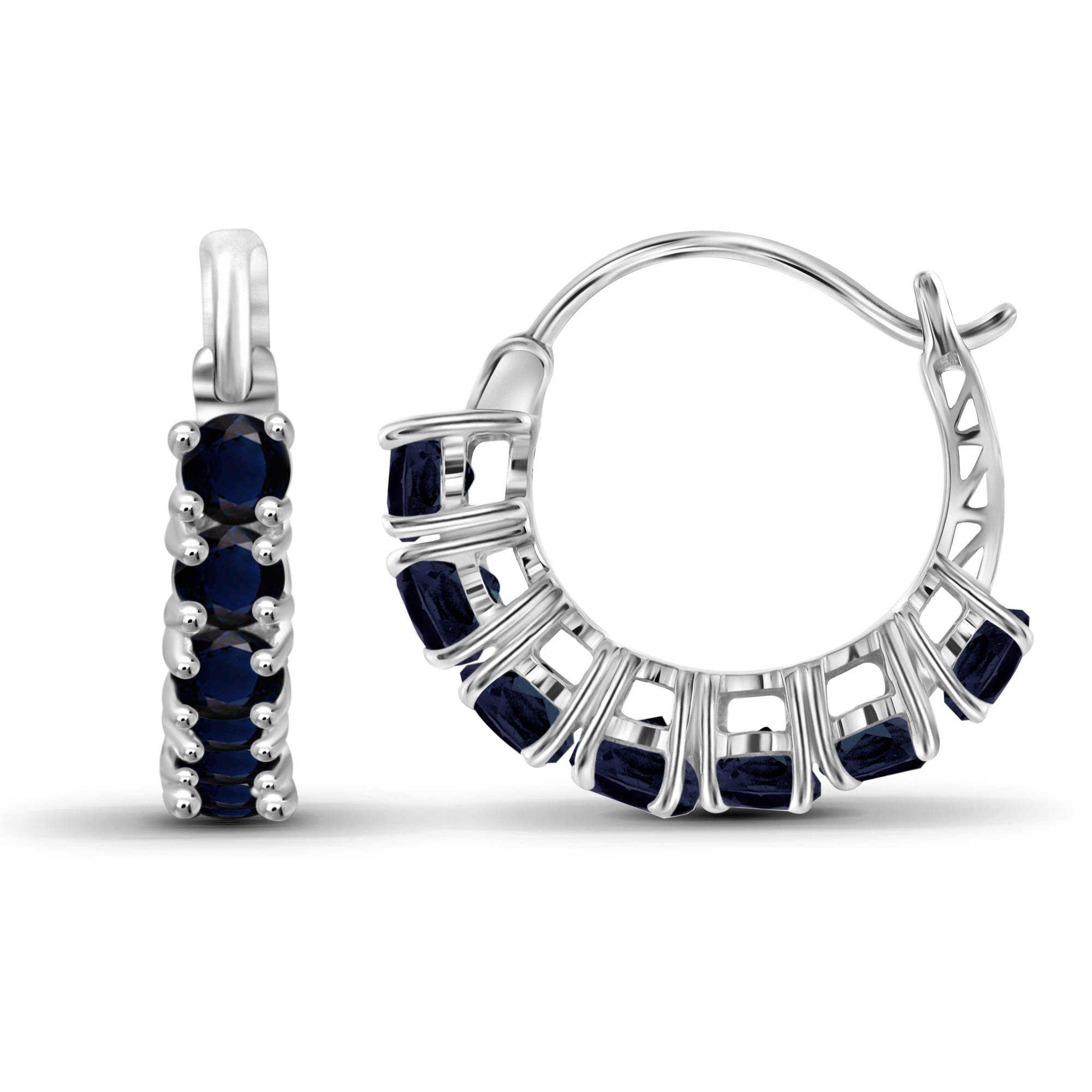 JewelersClub 2 Carat T.G.W. Sapphire Sterling Silver Hoop Earrings
