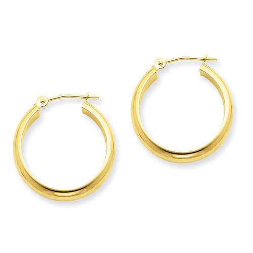 14kt Yellow Gold Round Tube Hoop Earrings