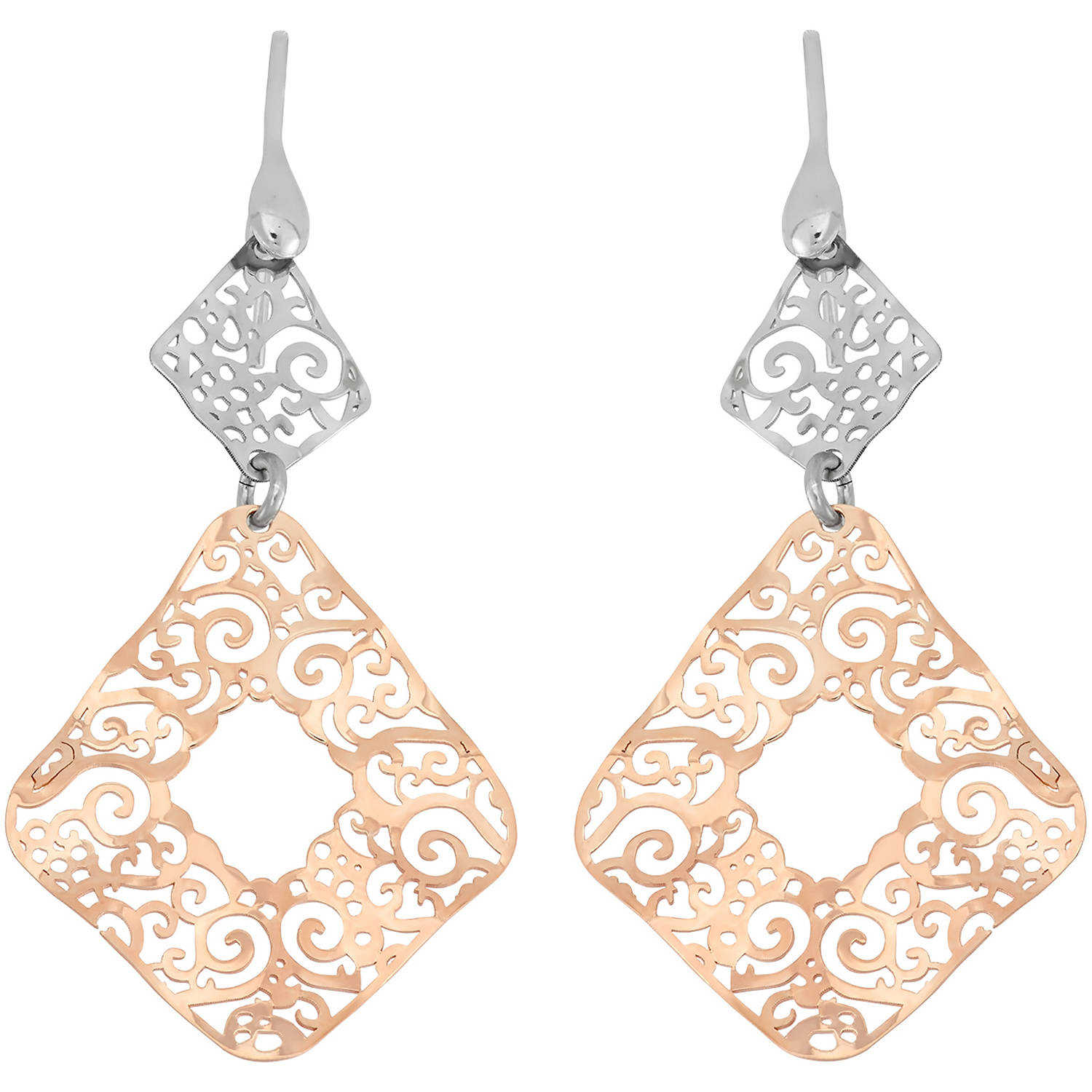Giuliano Mameli 14kt Rose Gold- and Rhodium-Plated Sterling Silver Diamond-Shape Cut-Out Dangle Earrings