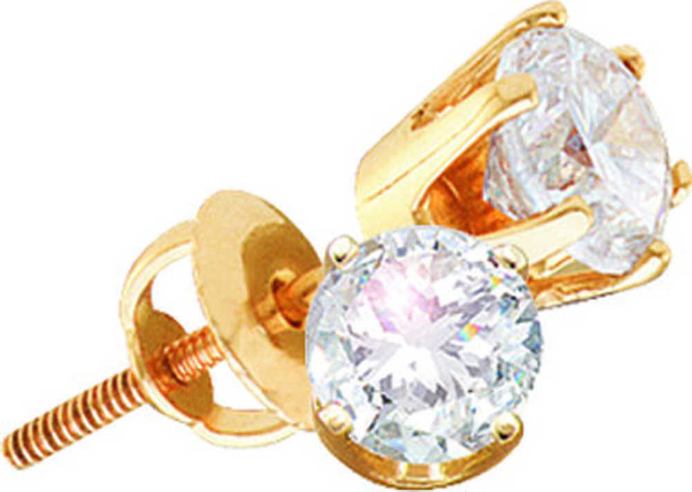 14kt Yellow Gold Womens Mens Unisex Round I2 JK Diamond Solitaire Stud Earrings 3/8 Cttw