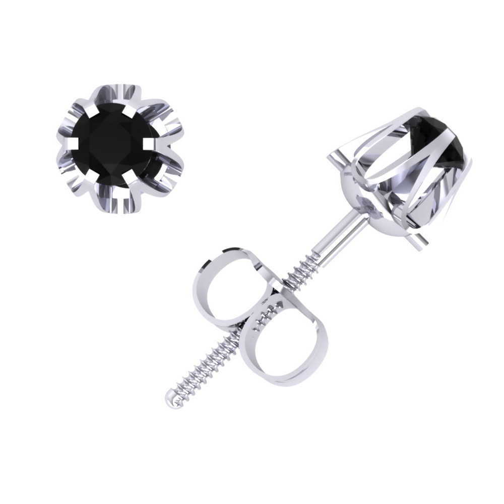 0.20Ct Round Black Diamond Buttercup Stud Earrings 14k White Gold 6Prong AA Quality