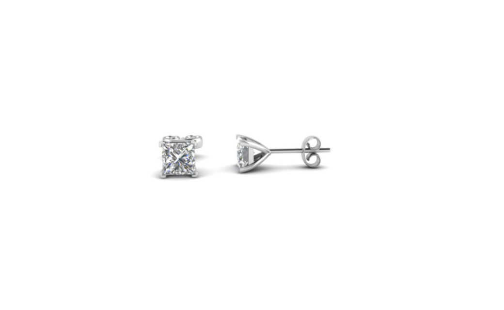 iParis Platinum Over Sterling Silver 4 Ct Princess White Sapphire Stud Earrings