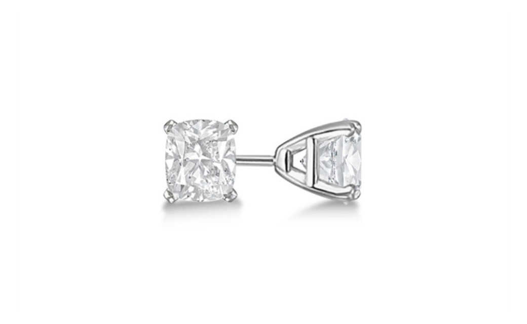 iParis 14k White Gold Over Sterling Silver 3 Ct Princess White Sapphire Stud Earrings