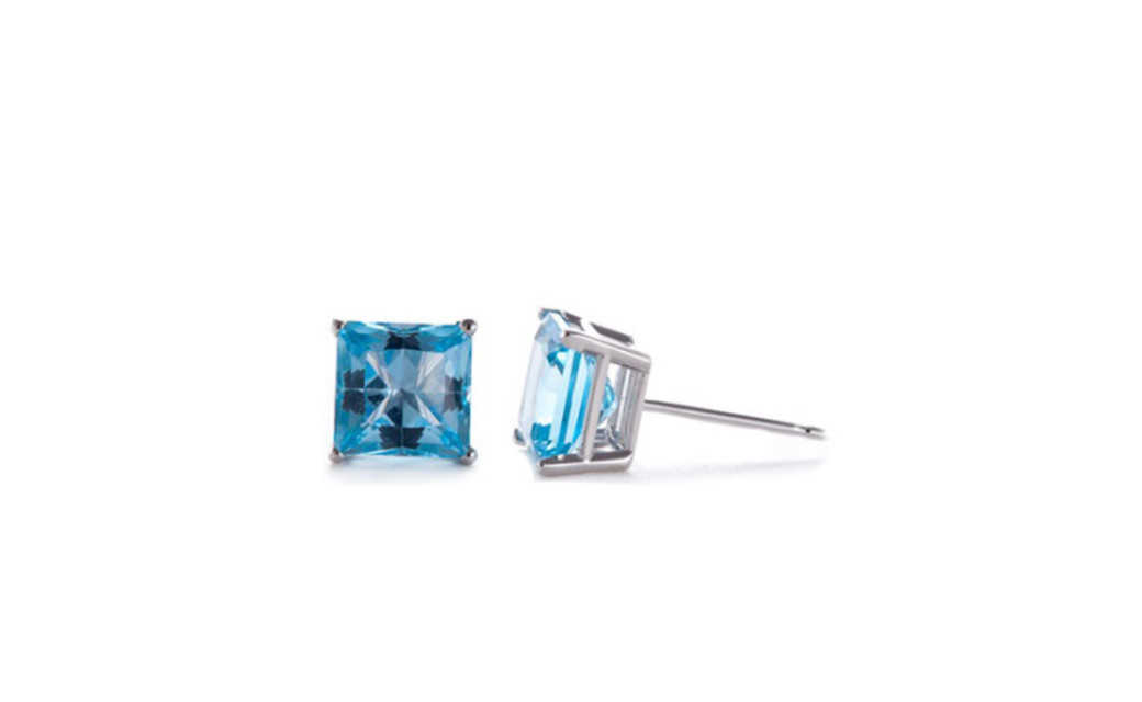 iParis 10k White Gold Over Sterling Silver 1 Ct Princess Blue Sapphire Stud Earrings