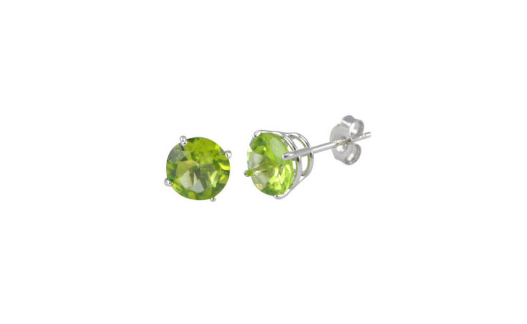 iParis Sterling Silver 1 Ct Round Green Sapphire Stud Earrings