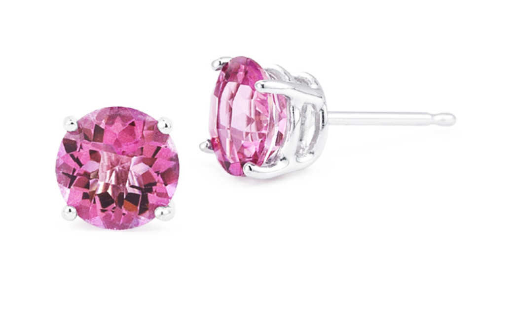 iParis Platinum Over Sterling Silver 4 Ct Round Pink Sapphire Stud Earrings