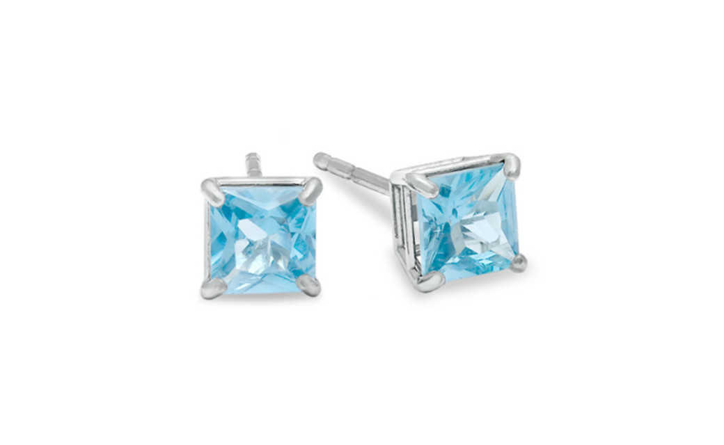 iParis 10k White Gold Over Sterling Silver 1 Ct Princess Light Blue Sapphire Stud Earrings