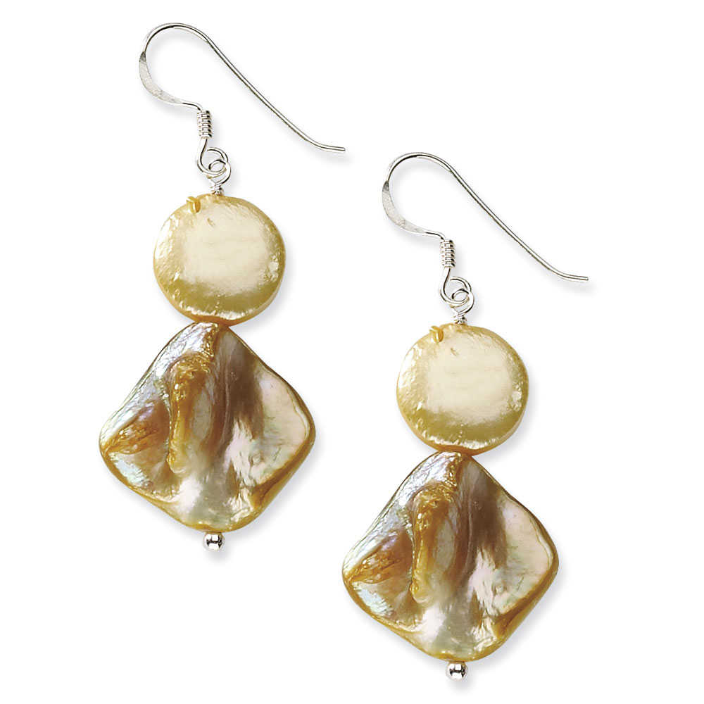 Mother Of Pearl Earrings in Sterling Silver - Shepherds Hook - Ravishing