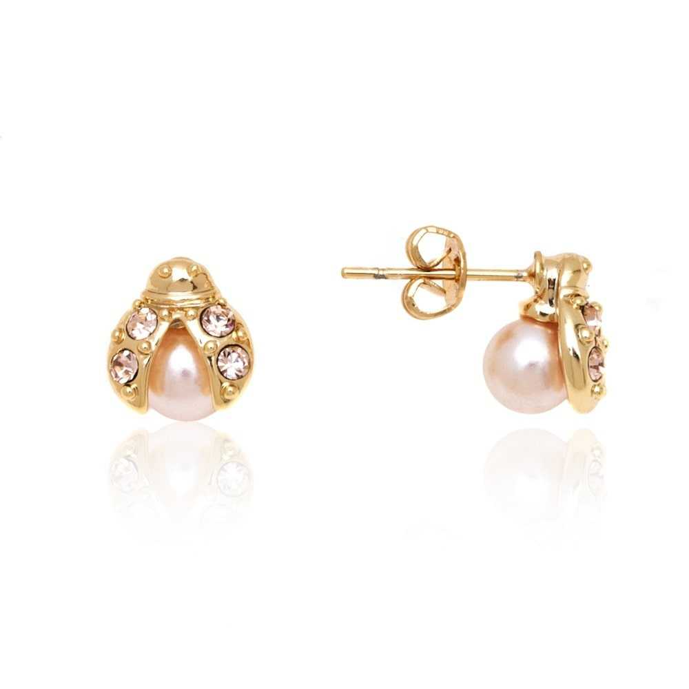 Peermont Jewelry Goldplated Rose Gold and Pearl Ladybug Stud Earrings - Pink