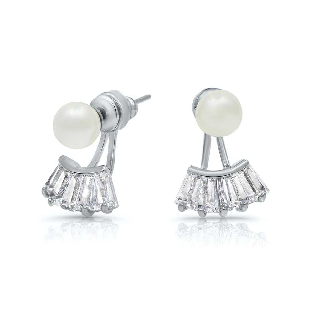 Pascollato Jewelry Cz Pearl Front-Back Earring Jacket Set Rhodium Silver-Tone 2 In1