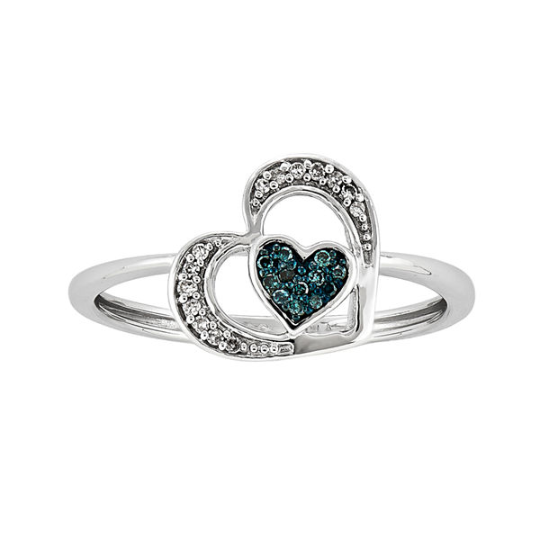 White and Color-Enhanced Blue Diamond-Accent Heart Ring