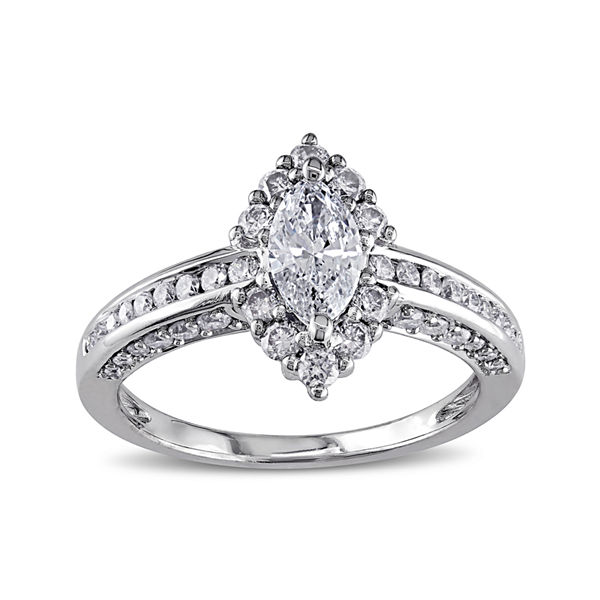 1CT. T.W. Marquise and Round Diamond 14K White Gold Ring