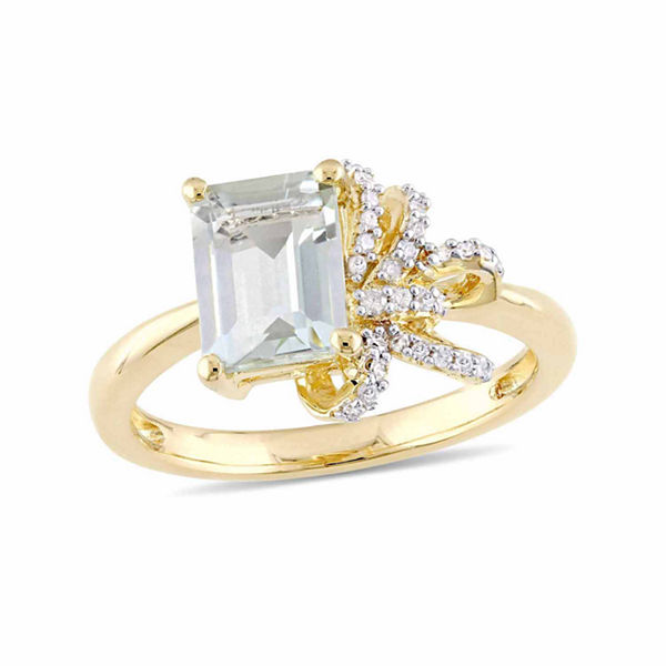 Laura Ashley Womens Genuine Green Amethyst 18K Gold Over Silver Cocktail Ring
