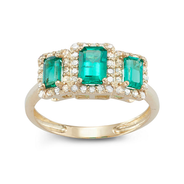 Lab Created Emerald And 1/3C.T. T.W. Diamond 10K Yellow Gold Ring