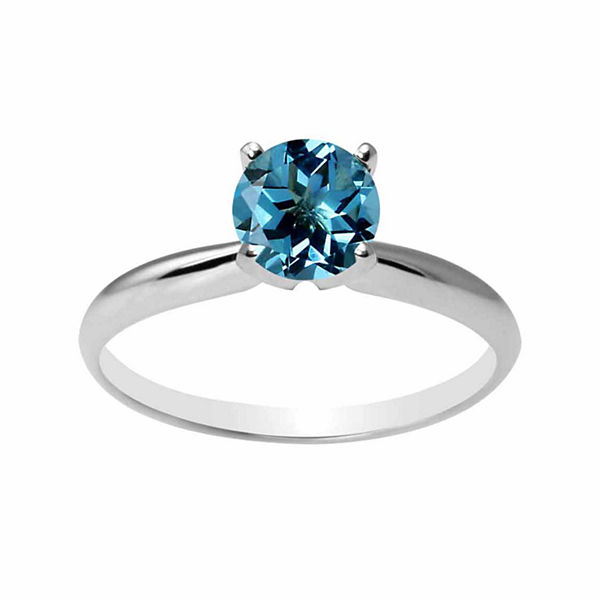 Womens Blue Blue Topaz 14K Gold Solitaire Ring