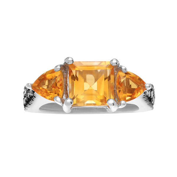 Journee Collection Diamond Accent & Genuine Citrine Sterling Silver Ring