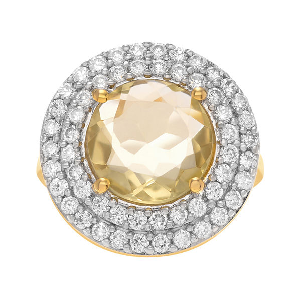 Genuine Lemon Topaz and Cubic Zirconia 14K Yellow Gold Over Brass Ring