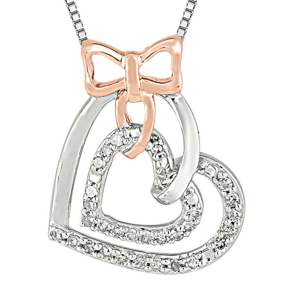 1/5 CT. T.W. Diamond Sterling Silver and 10K Rose Gold Bow Heart Necklace
