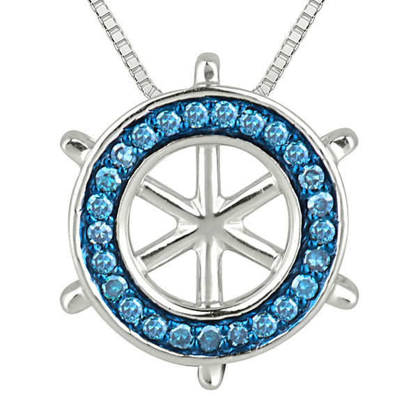 1/6 CT. T.W. White & Color-Enhanced Blue Diamond Ship Wheel Pendant Necklace