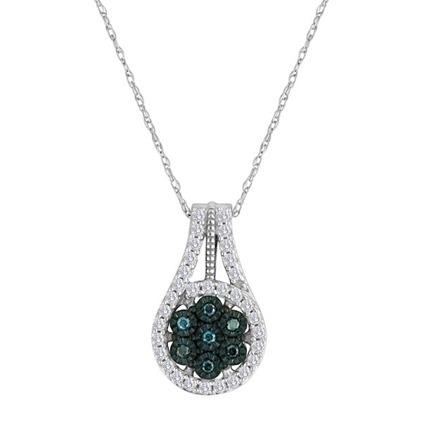 diamond blossom 1/3 CT. T.W. Color-Enhanced Blue Diamond Pendant Necklace